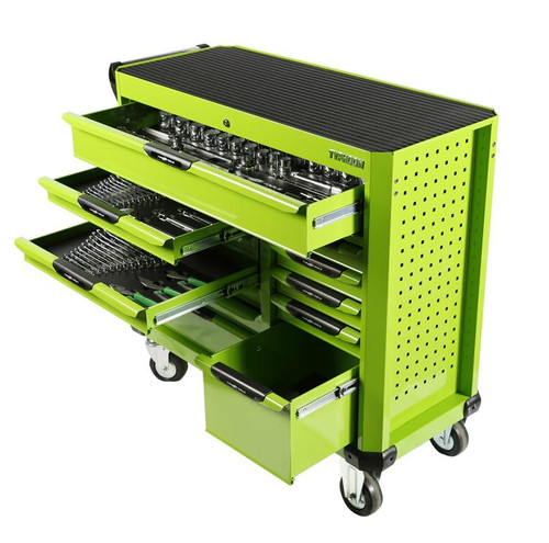 Typhoon MEGA 12 Drawer 414pce AF & Metric Toolkit in Super wide Wagon Green