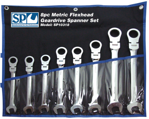 SP10367 SP Tools 420mm Long 7pc Flexhead AF Geardrive Wrench Spanner Set