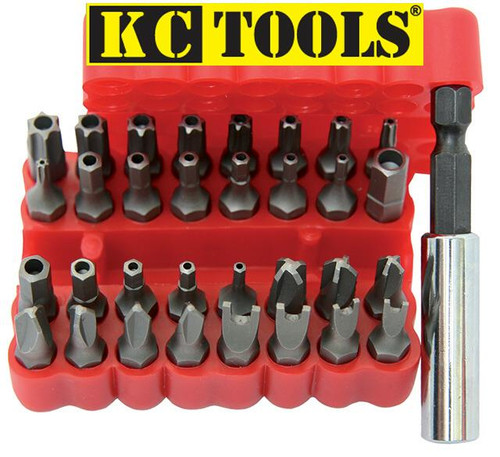 "KC TOOLS 33 PIECE 1/4"" SHANK TAMPER PROOF BIT SET"