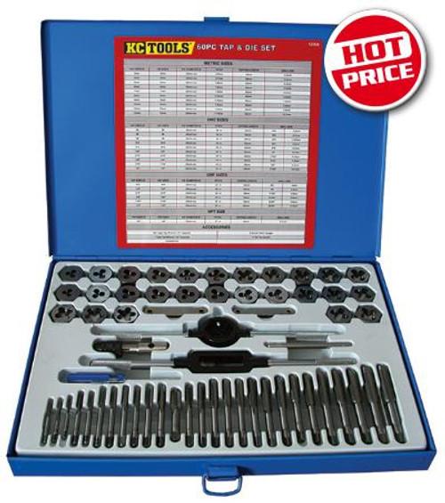 12009 KC Tools 60 PIECE TAP & DIE SET AF/UNC/METRIC.