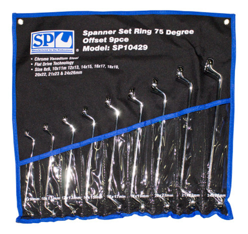 SP10429 9pc Metric 75° Offset Ring Spanner Wrench Set