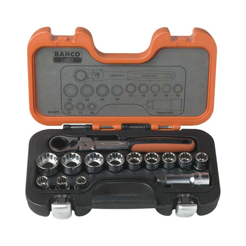 Bahco S140T 14pce Go Through Socket Set.