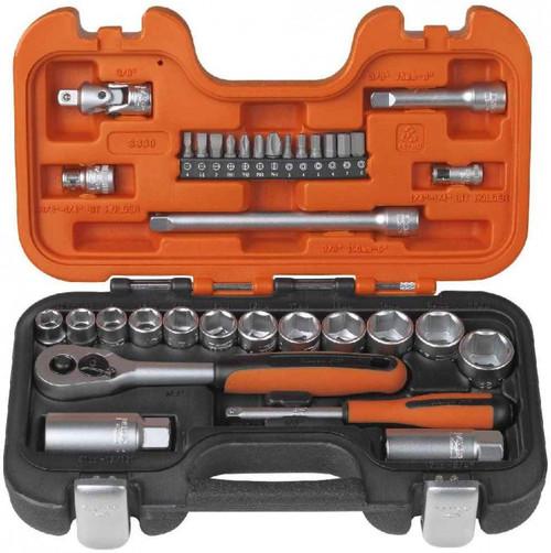 "BAS330 Bahco 34 Pce 3/8"" & 1/4"" Metric Socket Set"