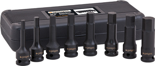 Geiger 1/2″ Drive Metric Hex Bit Impact Socket Set