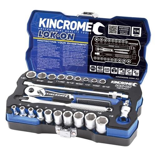 "Kincrome LOK ON® Socket Set 24 Piece 1/4"" Square Drive"
