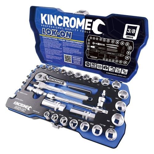 "Kincrome LOK ON® Socket Set 33 Piece 3/8"" Square Drive"