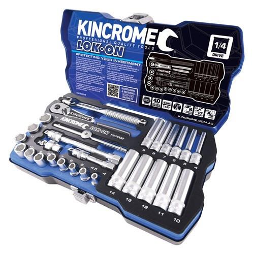 "Kincrome LOK ON® Socket Set 28 Piece 1/4"" Drive Metric"