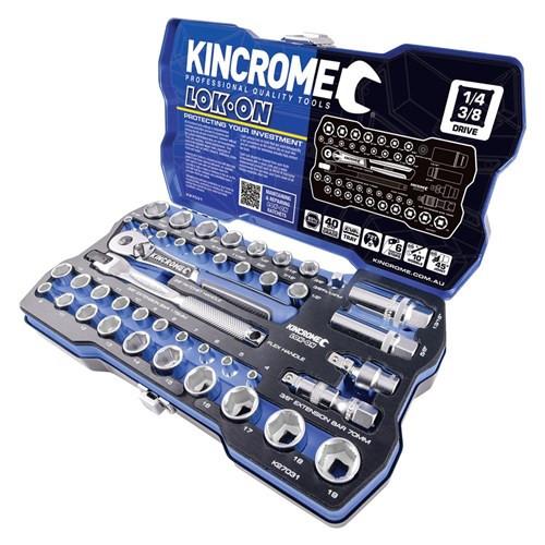 "Kincrome LOK ON® Socket Set 44 Piece 1/4 & 3/8"" Drive Metric"