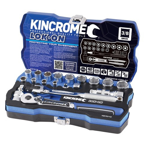 "Kincrome LOK ON® Socket Set 19 Piece 3/8"" Square Drive K27010"