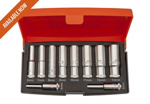 "S0810L Bahco 10 piece 1/4"" Drive Deep HEX Socket Set."