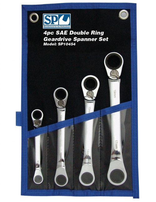 SP Tools 4pc SAE 15° Offset Double Ring Gear Spanner Set