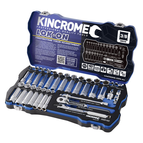 "Kincrome LOK ON® Socket Set 45 Pce 3/8"" Drive"