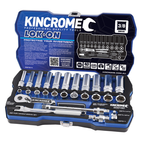 "Kincrome LOK ON® Socket Set 28 Piece 3/8"" Square Drive"