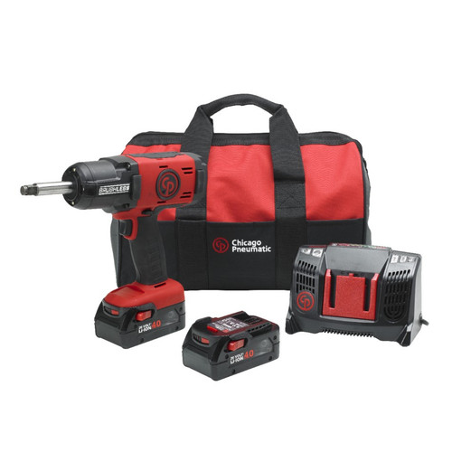 New Chicago Pneumatic Ext Anvil Cordless Impact Wrench With 2 x 6.0Ah Batteries