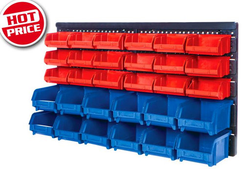 Medalist 30 Bin Parts Storage Rack Wall Mount
