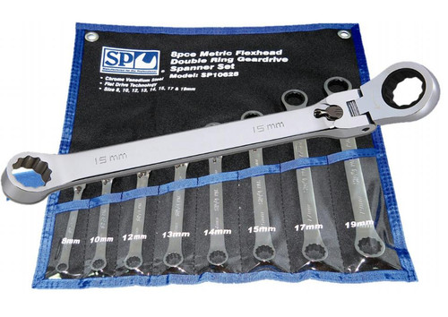 SP Tools 72 Teeth 6Pce Locking Flex Head Double Box Wrench Set.