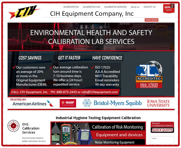 CIH Equipment Gas detector calibration services