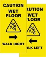 Caution Wet Floor Walk Right/ Walk Left 2 X Fold Up Sign