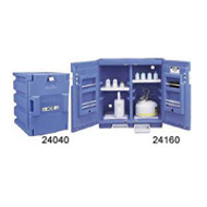 Justrite Blue Polyethylene Storage Cabinet-  two 4- liter bottles