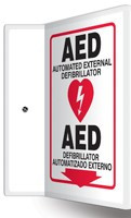 "AED Sign- Bilingual Spanish AED Sign- 90D-  12"" x 9"" panel"