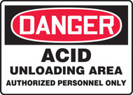 Danger - Acid Unloading Area Authorized Personnel Only