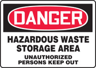Danger - Hazardous Waste Storage Area Unauthorized Persons Keep Out