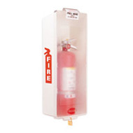 "Fire Extinguisher Cabinet- White Plastic -Indoor- Holds up to a 16 3/4"" H Extinguisher"