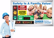 Safety Scoreboard with Digi Day & Moving Message Display- Customized SCT915