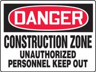 MCRT117 Danger Construction Zone Sign