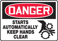 Danger - Starts Automatically Keep Hands Clear Sign