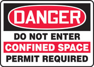 Danger- Do Not Enter Confined Space Permit Required Sign