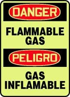 Flammable Gas Sign- Bilingual Spanish Safety Sign- Glow