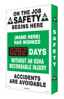 Electronic Safety Scoreboard| On The Job Safety Begins Here | Accuform  SCA282