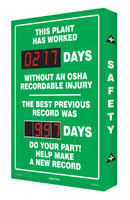 Outdoor Safety Scoreboard- Digi Day Plus- This Plant Has Worked SCM329