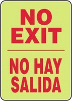 Bilingual Spanish No Exit Sign- glow sign