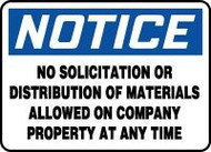 Notice - No Solicitation Or Distribution Of Materials Allowed On Company Property At Any Time