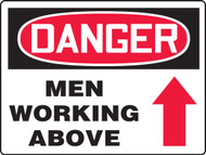MEQM227XAW Danger Men Working Above Big Safety Sign