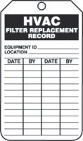 HVAC Filter Replacement Record Tag