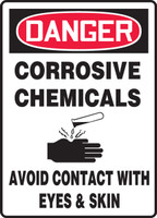 Danger - Corrosive Chemicals Avoid Contact With Eyes & Skin (W/Graphic) - Plastic - 14'' X 10''