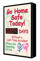 Digi Day Backlit Electronic Safety Scoreboard- LED Lite- Go Home Safe Today! SCF204