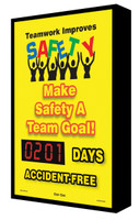 Digi Day Backlit Electronic Safety Scoreboard- LED-Lite- Teamwork SCF201