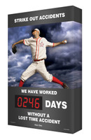 Digi Day Safety Scoreboard- Strike Out Accidents- Baseball Accuform SCA246
