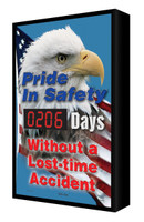Digi Day Backlit Electronic Safety Scoreboard- LED Lite- Pride in Safety!  SCF206