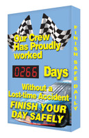 Electronic Safety Scoreboard Digi Day- Race Car Finish Accuform SCA266