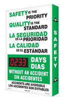 Bilingual Safety Scoreboard- Spanish/English- Safety is The Priority- Digi Day