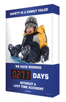 Safety Scoreboard Digi Day Electronic- Safety Is A Family Value- SCA271 Accuform