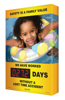 Safety Scoreboard Digi Day- Safety Is A Family Value Accuform SCA272