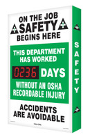 Safety Scoreboard Digi Day- On The Job Safety Begins Here Accuform SCA236