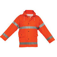 Reflective Rain Jacket Orange- Short- 2XLarge