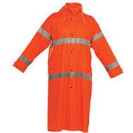 Reflective Rain Jacket Long- Orange-X Large